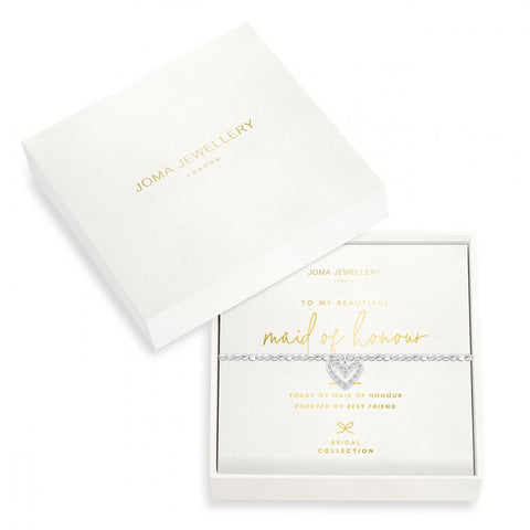 Joma Jewellery 'a little' bracelet with sparkling heart charm, presented on a sentiment card which reads:  'Today my Maid of Honour, forever my best friend'