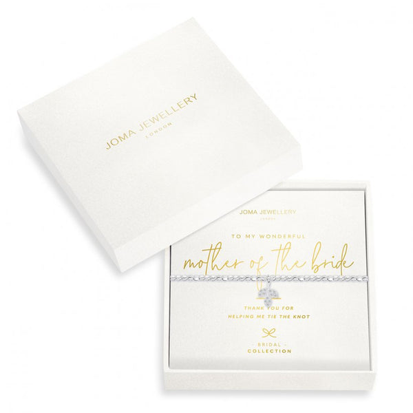 Joma Jewellery 'a little' bracelet with sparkling leaf charm, presented on a sentiment card which reads:  'Thank you for helping me tie the knot'