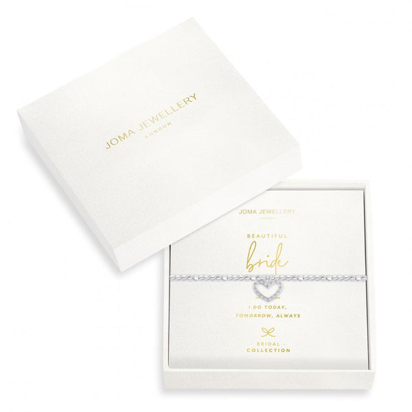 Joma Jewellery 'a little' bracelet with  beautiful sparkling heart charm, presented on a sentiment card which reads:  'I do today, tomorrow and always'