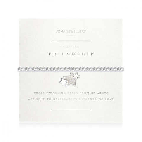 Joma Jewellery 'a little' bracelet with pretty little star charm, presented on a sentiment card which reads:  'these twinkling stars from up above are sent to celebrate the friends we love'