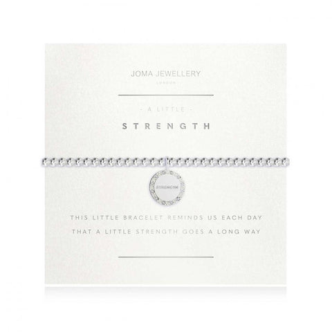 Joma Jewellery 'a little' bracelet with pretty little charm engraved with strength, presented on a sentiment card which reads:  'this little bracelet reminds us each day that a little strength goes a long way'