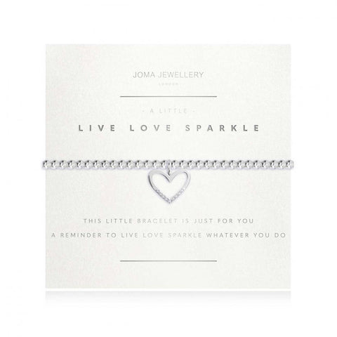 Joma Jewellery 'a little' bracelet with pretty little sparkly heart charm, presented on a sentiment card which reads:  'this little bracelet is just for you a reminder to live love sparkle whatever you do'