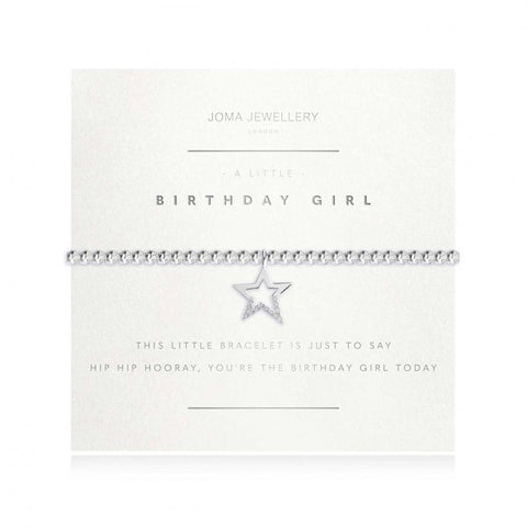 Joma Jewellery 'a little' bracelet with pretty little sparkly star charm, presented on a sentiment card which reads:  'this little bracelet is just to say hip hip hooray, you're the birthday girl today'