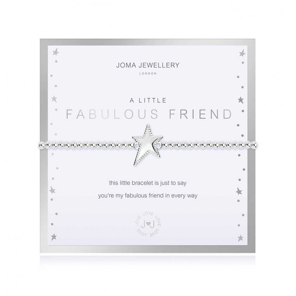 Joma Jewellery 'a little' bracelet with silver sparkly star charm, presented on a sentiment card which reads:  'this little bracelet is just to say you're my fabulous friend in every way'