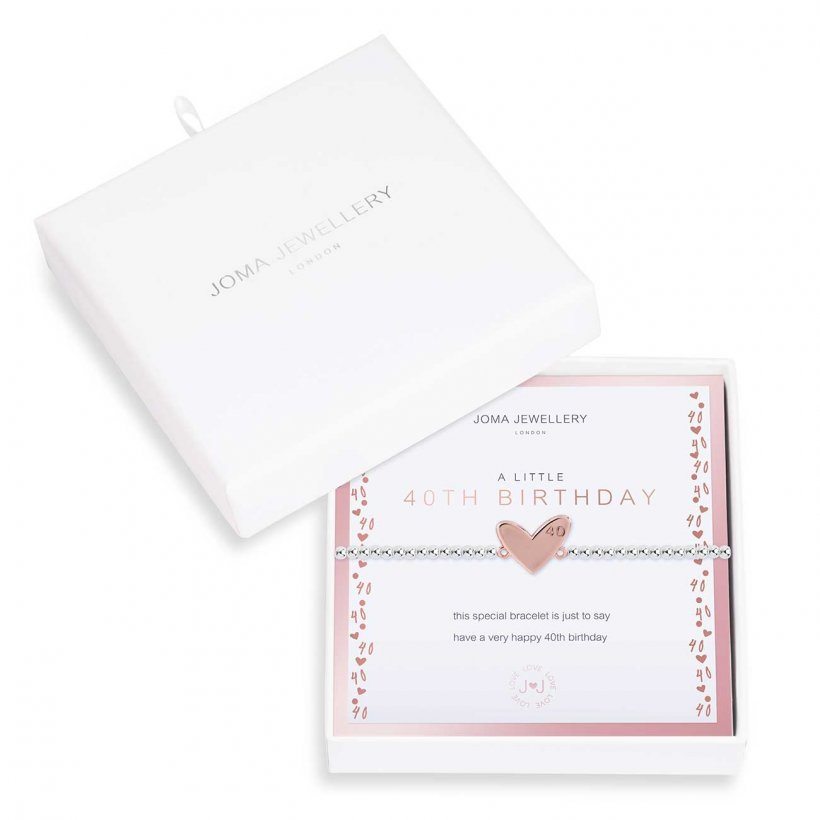 Joma Jewellery 'a little' bracelet with rose gold heart charm engraved with 40, presented on a sentiment card which reads:  'this special bracelet is just to say have a very happy 40th birthday'