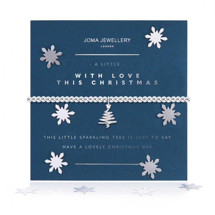 Joma Jewellery 'a little' bracelet with pretty Christmas tree charm, presented on a sentiment card which reads:  'this little sparkling tree is just to say have a lovely Christmas day'