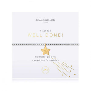 Joma Jewellery 'a little' bracelet with cute golden star charm, engraved with well done. presented on a sentiment card which reads:  'this little star I give to you to say well done, I'm proud of you'
