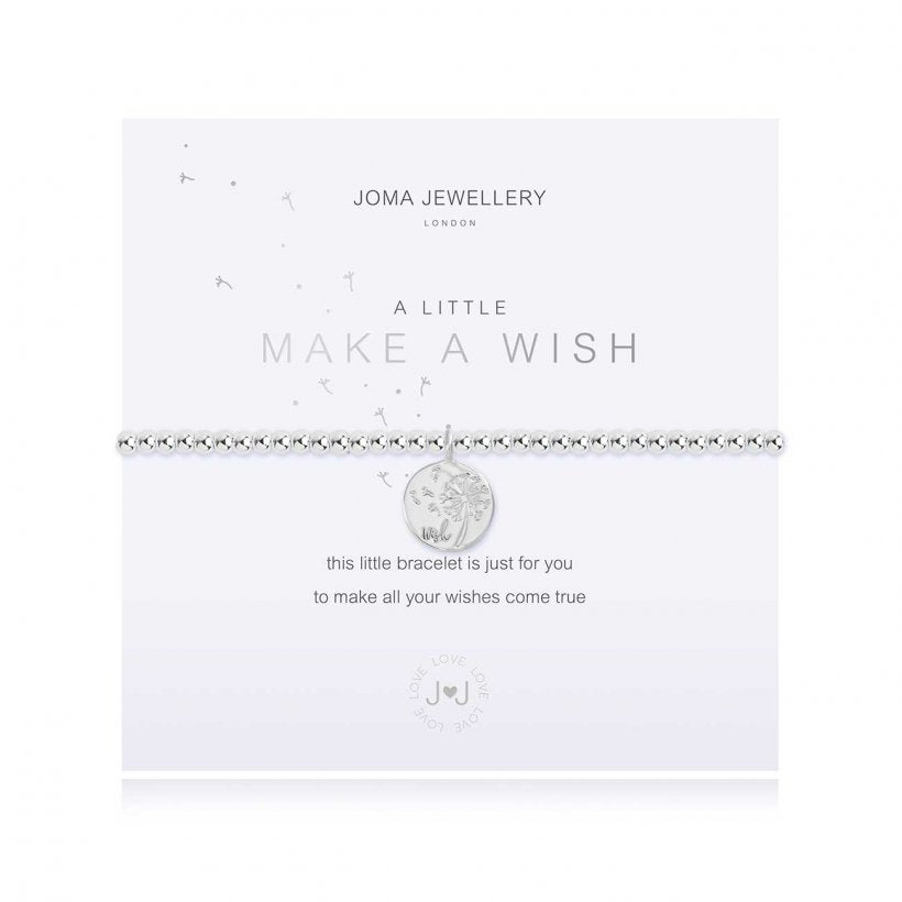 Joma Jewellery 'a little' bracelet with pretty silver charm, presented on a sentiment card which reads:  'this little bracelet is just for you to make all your wishes come true'