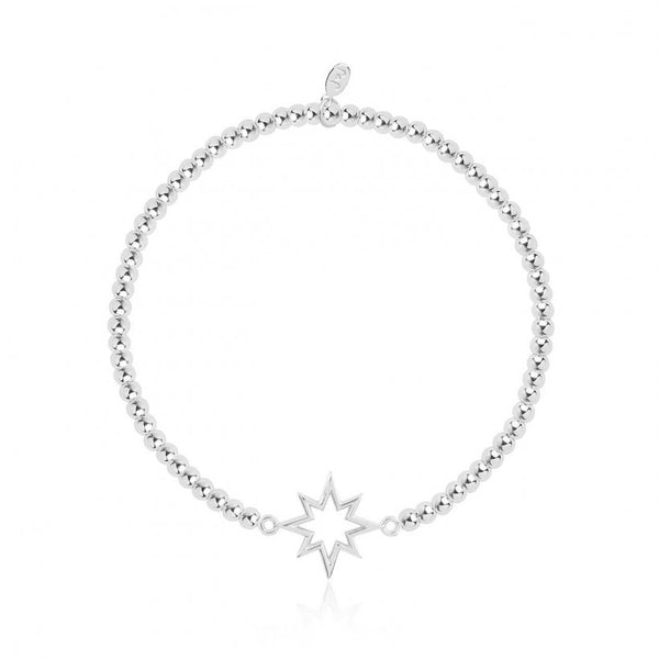 Joma Jewellery bracelet with pretty starburst charm, presented on a sentiment card which reads:  'Sparkle, shimmer and shine at Christmas time!'