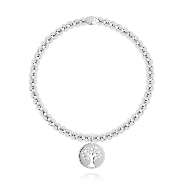 Joma Jewellery sweet sentiments bracelet with a beautiful family tree charm, presented in a little round box which reads:  'Forever family'