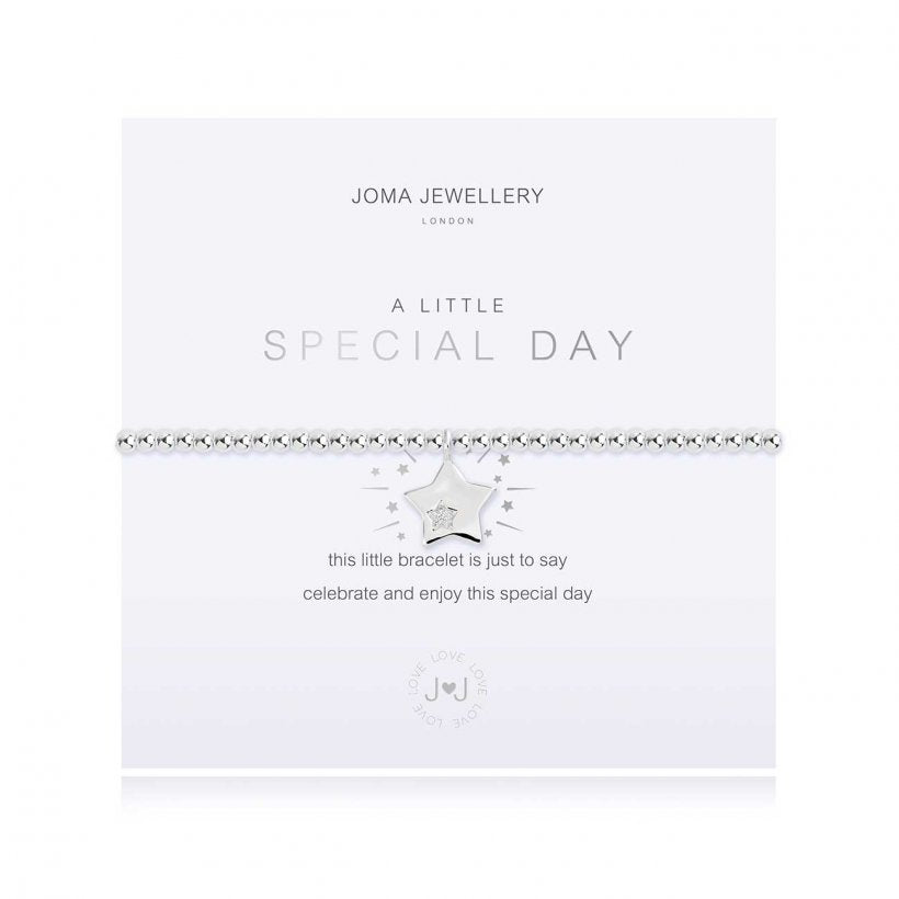 Joma Jewellery 'a little' bracelet with pretty sparkling star charm, presented on a sentiment card which reads:  'this little bracelet is just to say celebrate and enjoy this special day'
