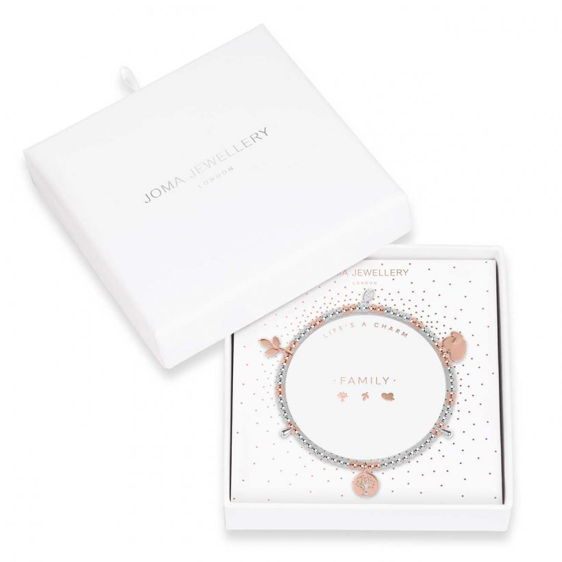 Joma Jewellery bracelet scattered with precious little keepsake charms, including shining hearts, a cute family tree and a little branch charm.   Beautifully packaged in it's own little box which reads 'Family'