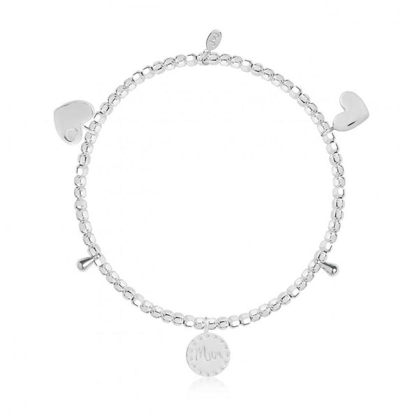 Joma Jewellery bracelet scattered with precious little keepsake charms, including 2 shining hearts and a beautiful 'Mum' engraved charm.   Beautifully packaged in it's own little box which reads 'Marvellous Mum'