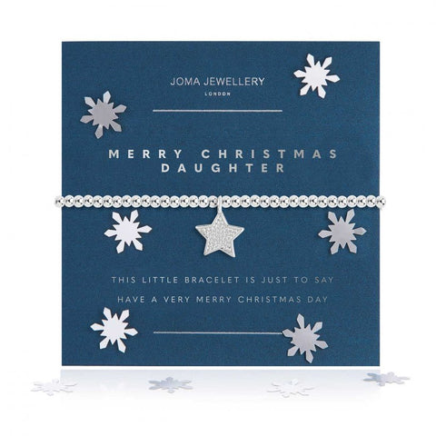 Joma Jewellery 'a little' bracelet with pretty silver star charm, presented on a sentiment card which reads:  'this little bracelet is just to say have a very Merry Christmas day'