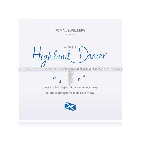 Joma Jewellery 'a little' bracelet with pretty little charm, presented on a sentiment card which reads:  'wear this little highland dancer on your way to add a spring to your step every day'