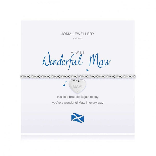 Joma Jewellery 'a little' bracelet with pretty little charm, presented on a sentiment card which reads:  'this little bracelet is just to say you're a wonderful Maw in every way'