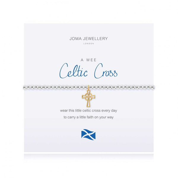 Joma Jewellery 'a little' bracelet with pretty little charm, presented on a sentiment card which reads:  'wear this little celtic cross every day to carry a little faith on your way'