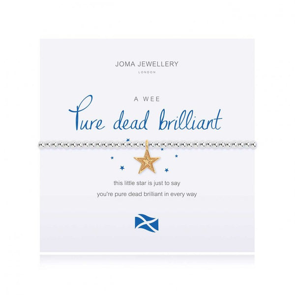 Joma Jewellery 'a little' bracelet with pretty little charm, presented on a sentiment card which reads:  'this little star is just to say you're pure dead brilliant in every way'