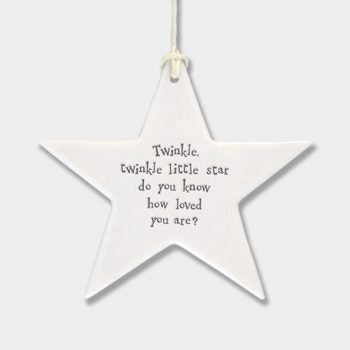 This East of India porcelain star features the saying 'Twinkle twinkle little star do you know how loved you are
