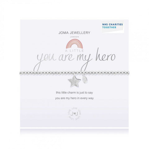 Joma Jewellery 'a little' bracelet with cute star charm, presented on a sentiment card which reads:  'This little charm is just to say you are my hero in every way'