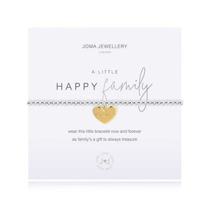 Joma Jewellery 'a little' bracelet with pretty engraved gold heart charm, presented on a sentiment card which reads:  'wear this little bracelet now and forever, as family's a gift to always treasure'