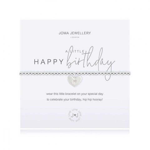 Joma Jewellery 'a little' bracelet with pretty little sparkly heart charm, presented on a sentiment card which reads:  'wear this little bracelet on your special day, to celebrate your birthday, hip hip hooray!'