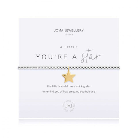 Joma Jewellery 'a little' bracelet with pretty little gold star charm, presented on a sentiment card which reads:  'this little bracelet has a shining star, to remind you of how amazing you truly are'