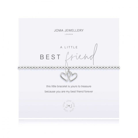 Joma Jewellery 'a little' bracelet with pretty little silver entwined heart charm, presented on a sentiment card which reads:  'this little bracelet is yours to treasure, because you are my best friend forever'