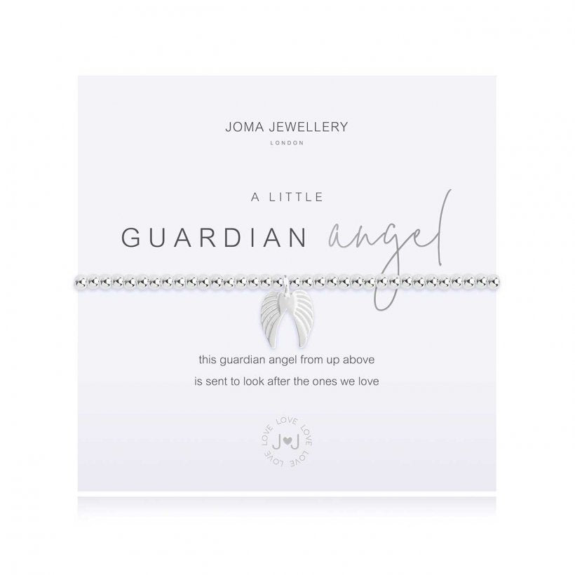 Joma Jewellery 'a little' bracelet with beautiful silver angel wings charm, presented on a sentiment card which reads:  'this guardian angel from up above, is sent to look after the ones we love'