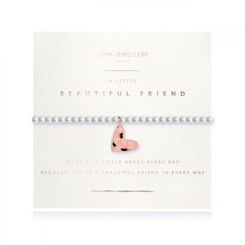 This stylish silver plated stretch bracelet with rose gold plated hammered heart charm comes presented on a sentiment card which reads:  'wear this little heart every day because you're a beautiful friend in every way'  Beautifully packaged in it's own Joma Jewellery envelope and gifting card, this will make a gorgeous gift idea for a friend's birthday or just because.