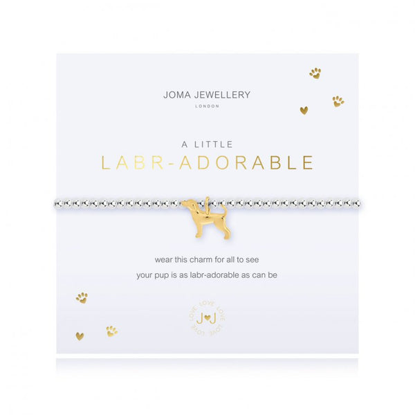 This cute silver plated stretch bracelet from Joma Jewellery's 'a little' pet range features an adorable little gold dog charm and comes presented on a sentiment card which reads:  'A Little'  'Labradorable'  'wear this charm for all to see, your pup is as labr-adorable as can be'