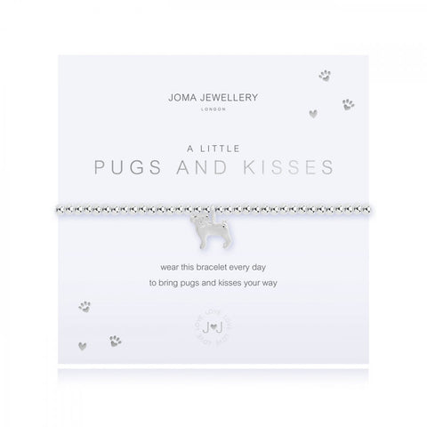 This cute silver plated stretch bracelet from Joma Jewellery's 'a little' pet range features an adorable little silver pug charm and comes presented on a sentiment card which reads:  'A Little'  'Pugs and Kisses'  'wear this bracelet every day, to bring pugs and kisses your way'