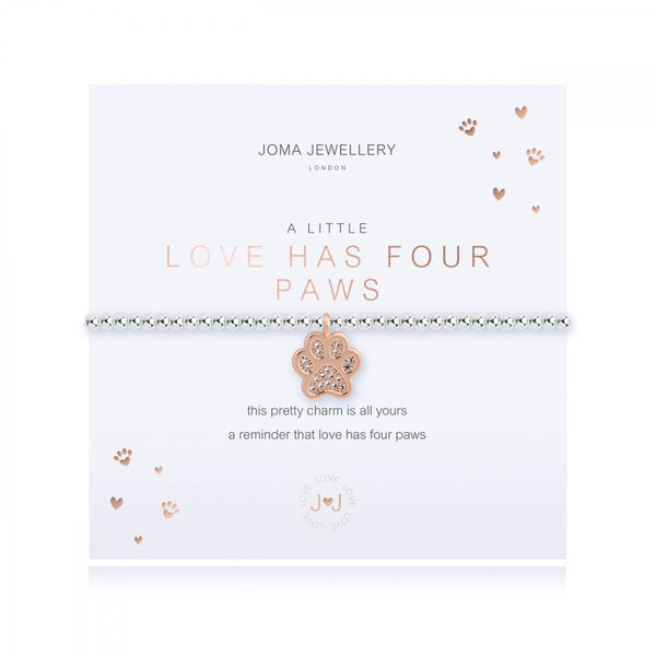 This cute silver plated stretch bracelet from Joma Jewellery's 'a little' pet range features an adorable little rose gold dog paw charm and comes presented on a sentiment card which reads:  'A Little'  'Love has four paws'  'this pretty charm is all yours, a reminder that love has four paws'