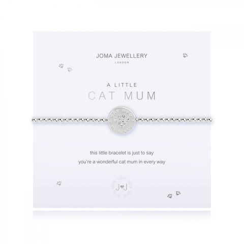 This cute silver plated stretch bracelet from Joma Jewellery's 'a little' pet range features an adorable little silver disc charm with sparkling paw print and comes presented on a sentiment card which reads:  'A Little'  'Cat Mum'  'this pretty bracelet is just to say, you're a wonderful cat mum in every way'
