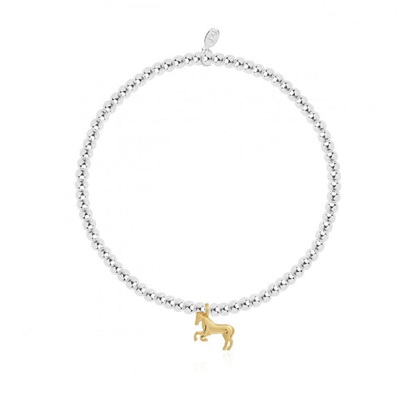 This cute silver plated stretch bracelet from Joma Jewellery's 'a little' pet range features an adorable little golden horse charm and comes presented on a sentiment card which reads:  'A Little'  ' I <3 Horses'  'this little bracelet is just to say I love horses in every way'