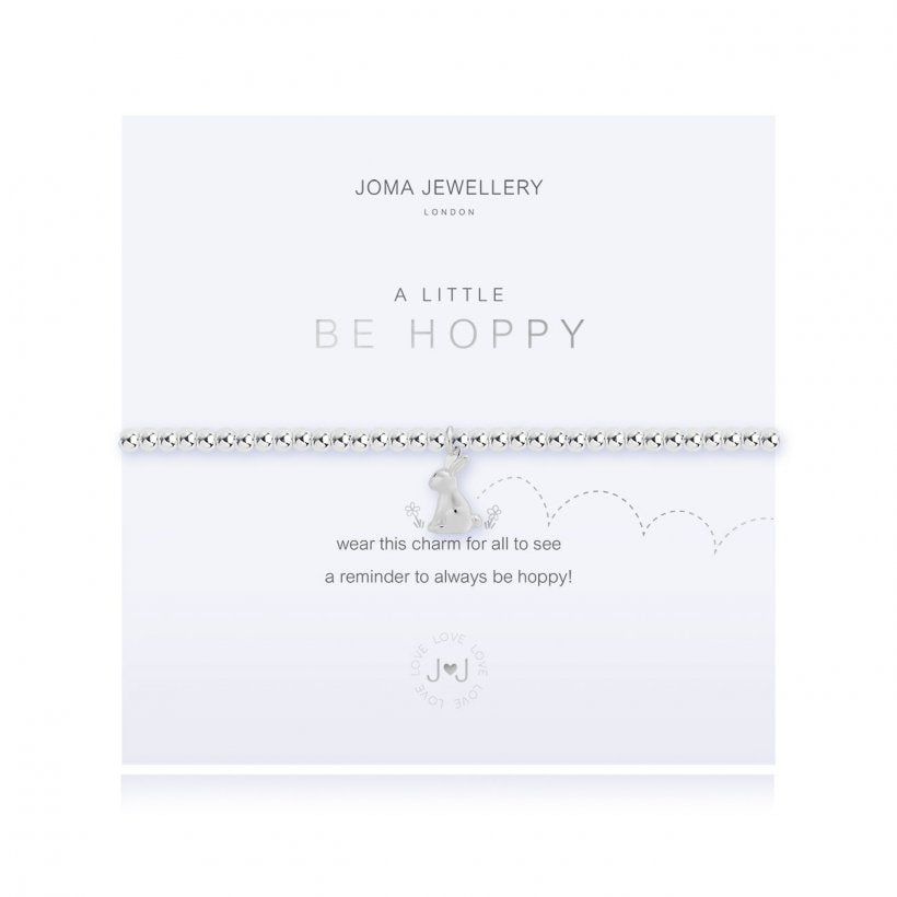 This cute silver plated stretch bracelet from Joma Jewellery's 'a little' pet range features an adorable little silver bunny rabbit charm and comes presented on a sentiment card which reads:  'A Little'  ' Be Hoppy'  'wear this charm for all to see a reminder to always be hoppy!'