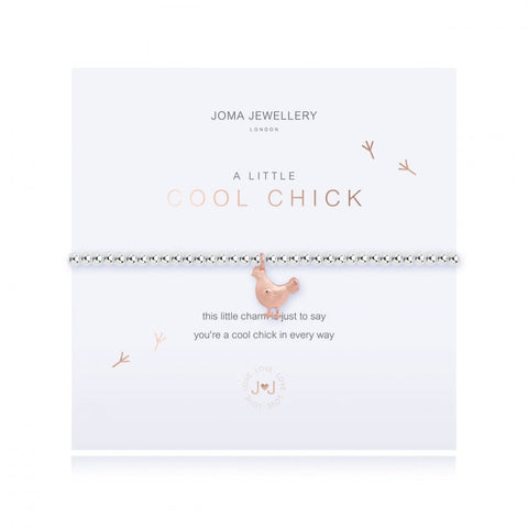This cute silver plated stretch bracelet from Joma Jewellery's 'a little' pet range features an adorable little rose gold chick charm and comes presented on a sentiment card which reads:  'A Little'  'Cool chick'  'this little charm is just to say you're a cool chick in every way'