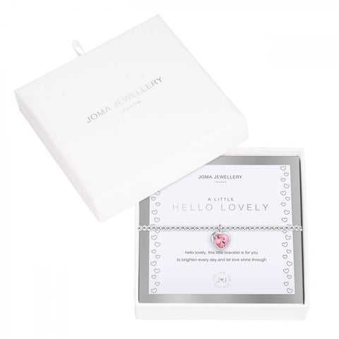 We love this stunning stretch bracelet from Joma Jewellery's 'Beautifully Boxed A Littles' range.  The silver plated bracelet features a sparkling embellished pink heart charm.  Beautifully packaged in it's own little box the bracelet is presented on a sentiment card which reads:  'hello lovely, this little bracelet is for you to brighten every day and let love shine through'