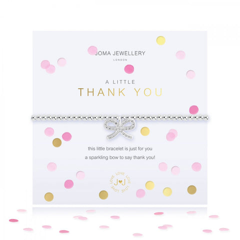 This cute, sparkling stretch bracelet from Joma Jewellery's 'Confetti A Littles' range is a beautiful gift idea to thank someone for their kindness.  The silver plated bracelet features a sparkly bow charm and comes presented on a card with the sentiment:  'A Little'  'Thank You'  'this little bracelet is just for you, a sparkling bow to say thank you!'