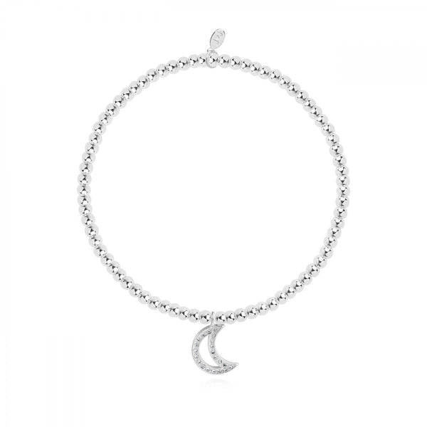 Sparkling stretch bracelet from Joma Jewellery's 'Confetti A Littles' range.  The silver plated bracelet features a sparkly moon charm and comes presented on a card with the sentiment:  'A Little'  'Love You To The Moon & Back'  'wear this little charm every day, you're loved to the moon and back now and always'