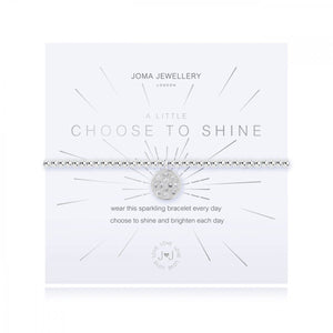 Sparkly silver plated stretch bracelet from Joma Jewellery's 'a little' range.  The gorgeous bracelet features an embellished disc charm and comes presented on a sentiment card which reads:  'A Little'  'Choose To Shine'  'wear this sparkling bracelet every day choose to shine and brighten each day'