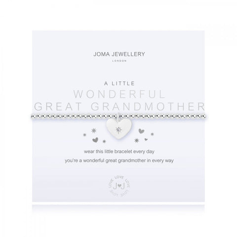 Stunning silver plated stretch bracelet from Joma Jewellery's 'a little' range.  The gorgeous bracelet features a little embellished heart charm and comes presented on a sentiment card which reads:  'A Little'  'Wonderful Great Grandmother'  'wear this little bracelet every day you're a wonderful great grandmother in every way'