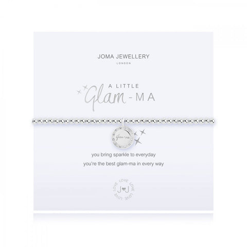 Stunning silver plated stretch bracelet from Joma Jewellery's 'a little' range.  The gorgeous bracelet features a sentiment engraved disc charm and comes presented on a sentiment card which reads:  'A Little'  'Glam-Ma'  'you bring sparkle to everyday you're the best glam-ma in every way'