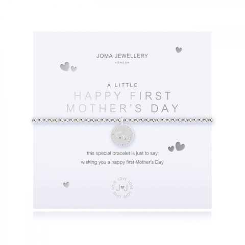 Cute silver plated stretch bracelet from Joma Jewellery's 'a little' range.  The gorgeous bracelet features a sentiment engraved disc charm and comes presented on a sentiment card which reads:  'A Little'  'Happy First Mother's Day'  'this special bracelet is just to say wishing you a happy first Mother's Day'