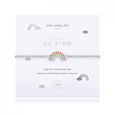Pretty silver plated stretch bracelet from Joma Jewellery's 'a little' range.  The bracelet features a colourful rainbow charm and comes presented on a sentiment card which reads:  'A Little'  'Be Kind'  'wear this bracelet every day because a little kindness goes a long way'