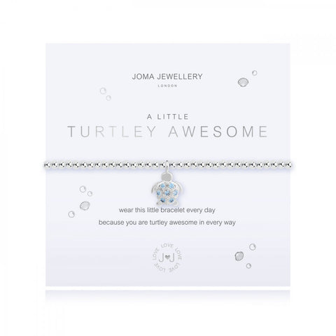 This cute silver plated stretch bracelet from Joma Jewellery's 'a little' range features a pretty sky blue embellished turtle charm and comes presented on a sentiment card which reads:  'A Little'  'Turtley Awesome'  'wear this little bracelet every day because you are turtley awesome in every way'