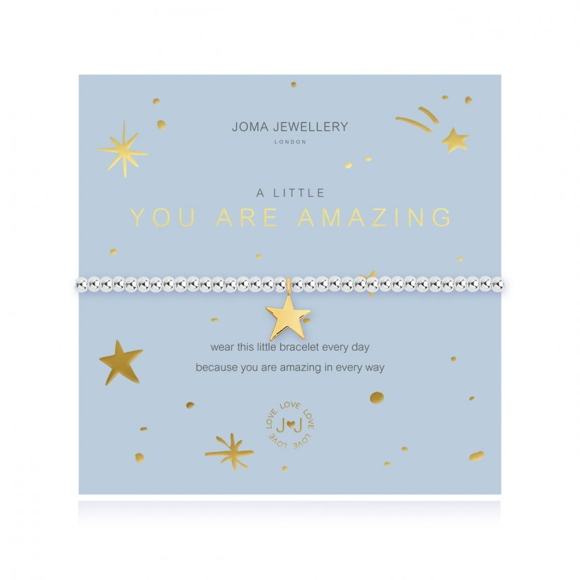 This cute silver plated stretch bracelet from Joma Jewellery's 'a little' shimmering range features the sweetest little golden heart charm and comes presented on a sentiment card which reads:  'A Little'  'You are amazing'  'wear this little bracelet every day because you are amazing in every way'