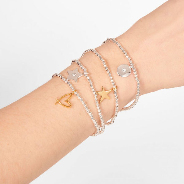 This cute silver plated stretch bracelet from Joma Jewellery's 'a little' sparkling range features the sweetest little silver cubic zirconia detailed star charm and comes presented on a sentiment card which reads:  'A Little'  'Fabulous friend'  'this little bracelet is just to say you're a fabulous friend in every way'