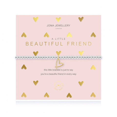 This cute silver plated stretch bracelet from Joma Jewellery's 'a little' friend range features the sweetest little gold outlined  heart charm and comes presented on a sentiment card which reads:  'A Little'  'Beautiful friend'  'this little bracelet is just to say you're a beautiful friend in every way'