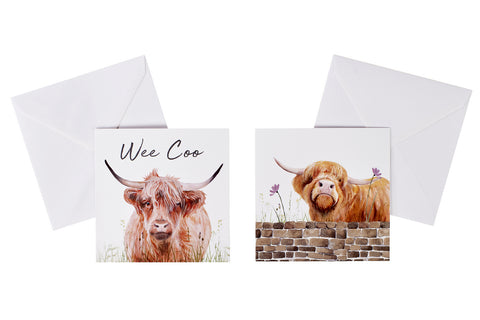 ***Price Includes Delivery***  Richard Lang Derby  Greeting card featuring a highland cow illustration with the text:  'Wee coo'